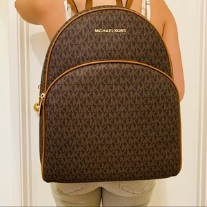 MICHAEL KORS LARGE ABBEY BROWN CANVAS BACKPACK